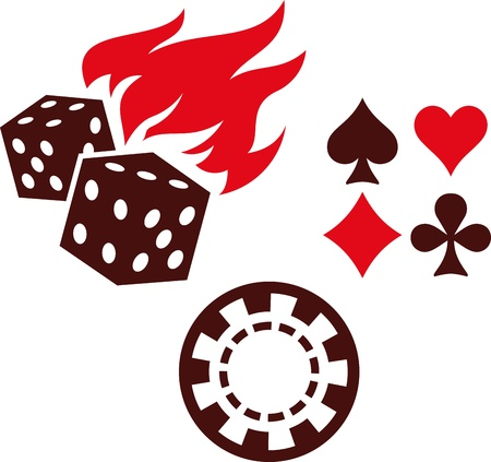 Vector gambling items – dice, playing cards and casino chips