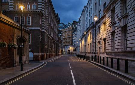 Empty street of London at night