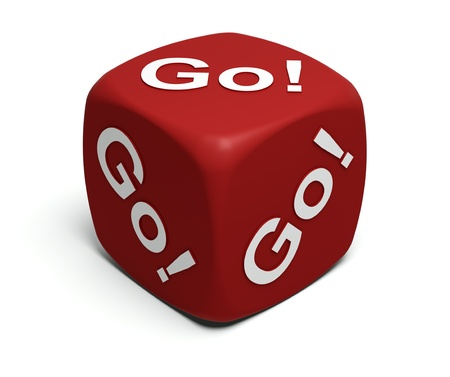 Red Dice with exclamation Go! Go! Go! on faces