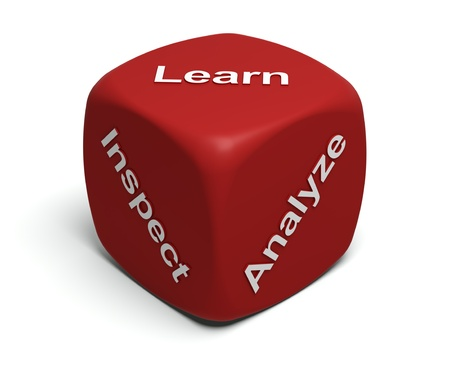 Red Dice with words Inspect, Analyze, Learn on faces