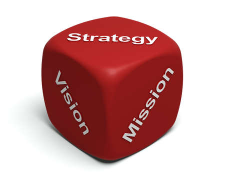 Red Dice with words Vision, Mission, Strategy on faces