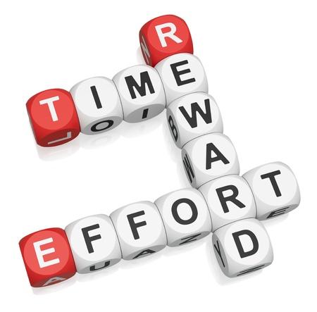 Time Effort Reward crossword on white background 3d render