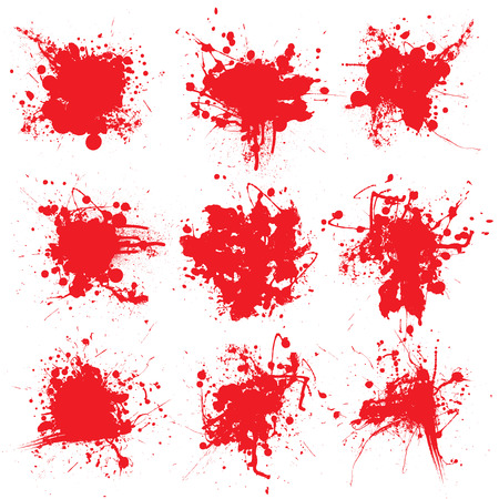 Collection of nine blood splats on a white background