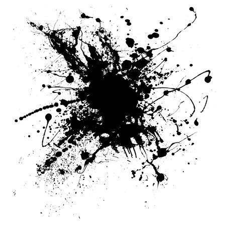 Random illustrated ink splat in black and white