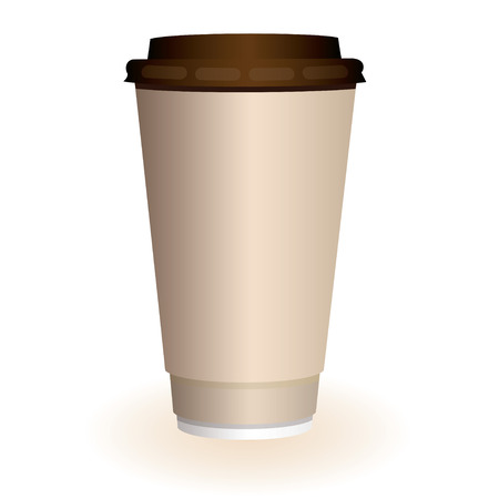 Large brown hot coffee or tea disposable paper cup