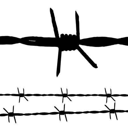 Large silhouette of some barbed wire and a seamless string