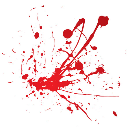 Blood spray splat isolated over a white background