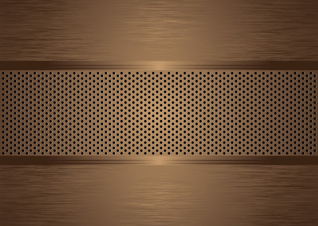bronze abstract brushed metal background wit holes punched