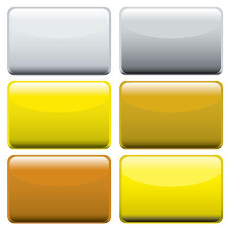Collection of six metallic oblong web buttons with light reflection