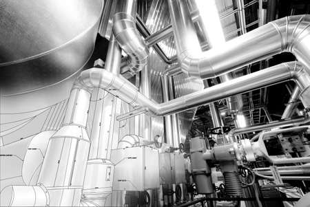 Black and white Sketch of Equipment, cables and piping as found inside of a modern industrial power plant