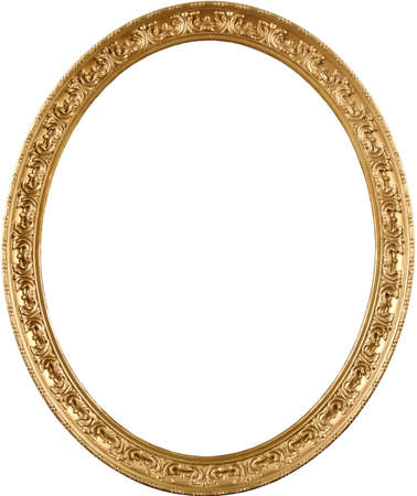 The real antique frame from art museum. High detail; classic appearance. Rich gold color and elegant ornament.