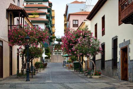 Street of beautiful old town of Puerto de la Cruz, Tenerife, Canary Islands, Spain