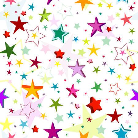 Seamless pattern of a maze of colorful stars on a white background