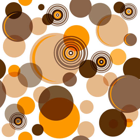 Abstract seamless pattern with chaotic brown balls and rings