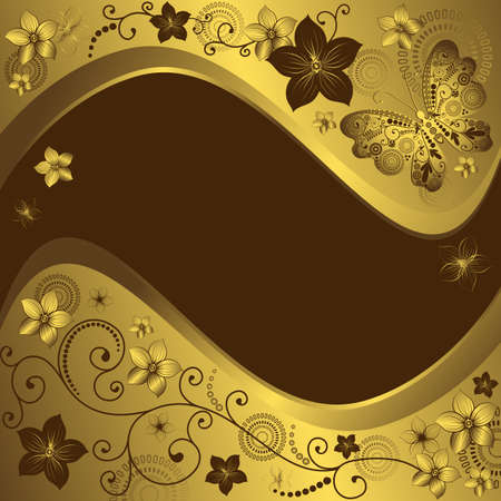 Decorative golden and brown vintage frame with flowers and butterflies (vector)