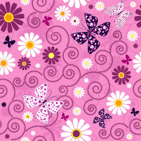 Pink seamless floral pattern with flowers and butterflies (vector)