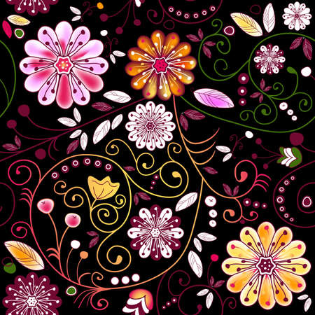 Seamless dark floral pattern with vivid flowers and curls (vector)