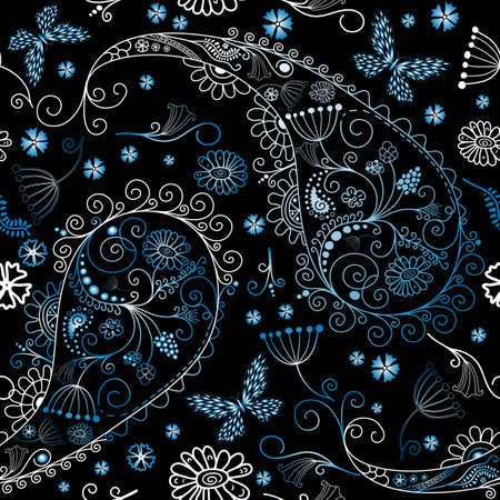 Black seamless floral pattern with paisley and butterflies