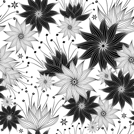 Seamless white and black floral pattern with vintage flowers