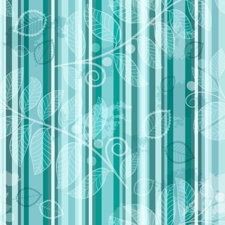 Seamless striped turquoise pattern with translucent leaves in grunge style