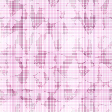 Pink gentle seamless checkered pattern with translucent butterflies