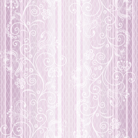 Seamless gentle pastel striped pattern with vintage ornament and translucent rhombus