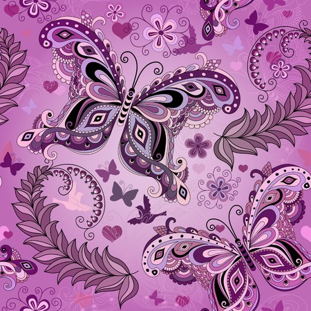 Seamless pastel pink vintage pattern with butterflies