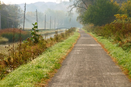 Bucolic autumn scene on the towpath trail of the Ohio Canal near Cleveland