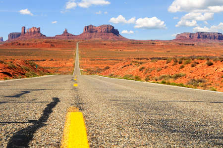 Road level view of Utah state route 163 leading south to Monument Valley