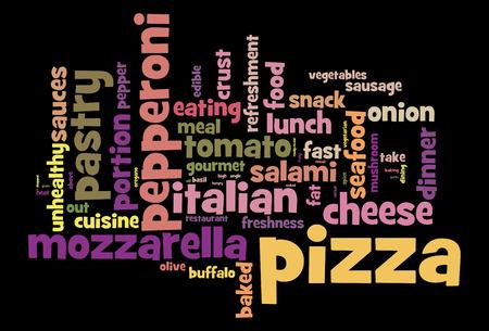 Pizza word cloud conceptual image