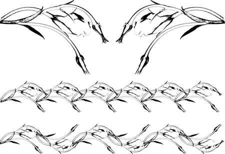 Grunge flower scrolling patterns set