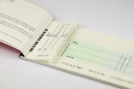 Blank Cheque book stub with space for copy on the cheque