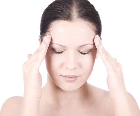 young beauty woman with headache holding hands on forehead