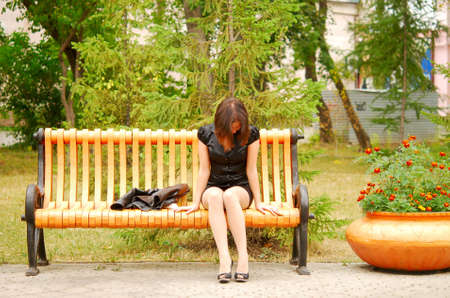 sad woman in the park
