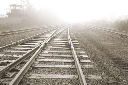 Rail road. Vanishing point. Sepia tone photo.