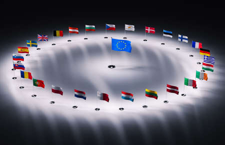 twenty seven european union flags 3d render