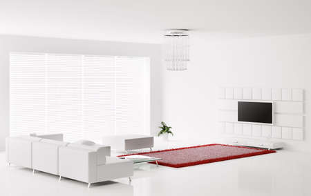 Interior of white living room with red white carpet 3d render