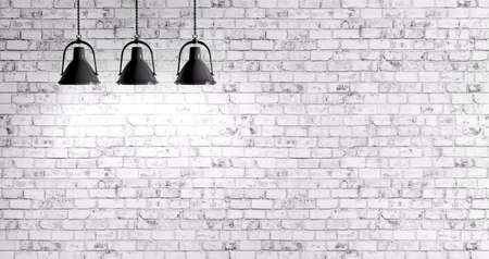 White brick wall with three lamps background