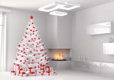 White christmas tree and gifts in the living room 3d render