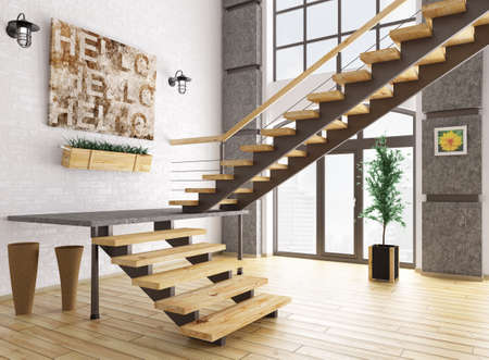 Modern interior of a room with staircase 3d rendering