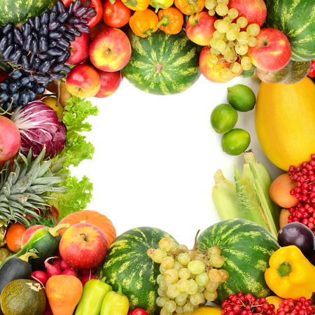 Frame of vegetables and fruits on whiteの写真素材
