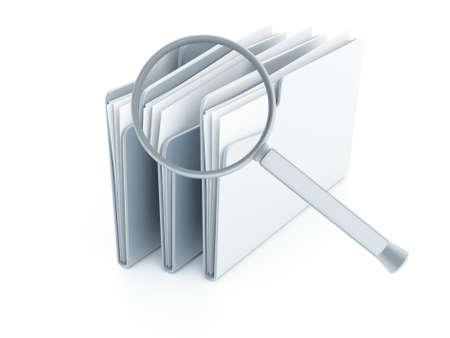 blue folders with papers under magnifier on a white background
