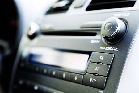 control panel of audio player and other devices of the car