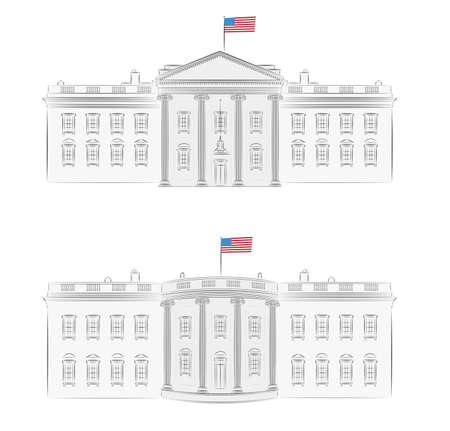 White House - detailed vector illustration of front and back, with american flag