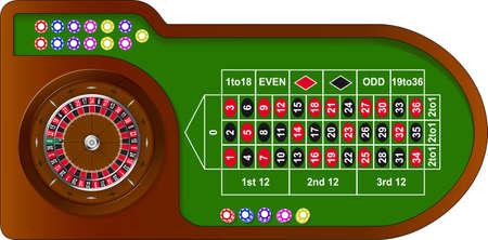 Roulette game table with colorful chips for online casino