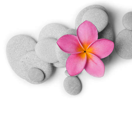 Nice calm image of beach pebbles with a single pink frangipani flower on a white background