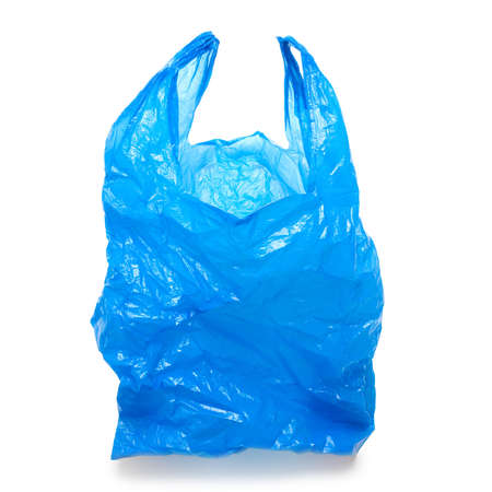 Blue empty plastic bag isolated over white background