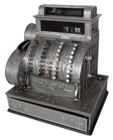 Vintage cash register isolated with path