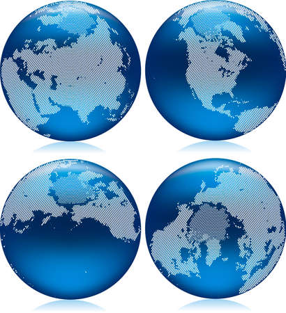 shiny blue Earth globe with round dots on northern hemisphere