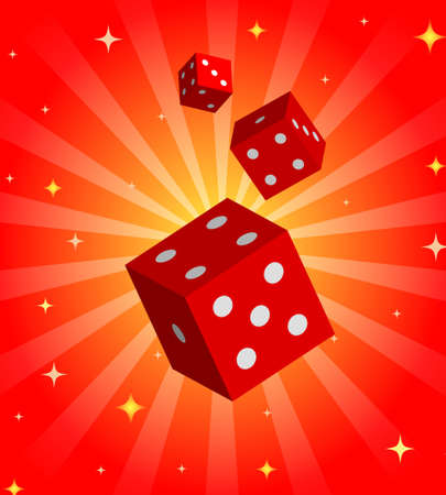 Gambling illustration with red dices on shiny background